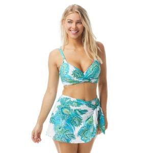 Coco Contours Diamond Wrap Twist Underwire Bra Sized Bikini Top - Lotus Garden