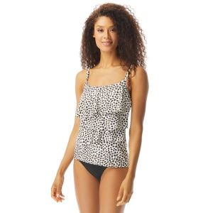 Coco Reef Aura Ruffle Bra Sized Underwire Tankini Top - Cheetah
